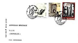 SAN MARINO - 1991 BOLOGNA 36° Bophilex - Fontana Del Nettuno Del Giambologna Su Cartolina Speciale - 236 - Monumenti