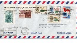 CANADA AFFRANCHISSEMENT COMPOSE SUR LETTRE AVION POUR LA FRANCE 1967 - 1952-.... Regno Di Elizabeth II
