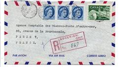 CANADA AFFRANCHISSEMENT COMPOSE SUR LETTRE AVION RECOMMANDEE DE GODERICH POUR LA FRANCE 1957 - 1952-.... Regno Di Elizabeth II