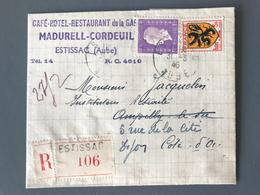 France N°602 Et 689 Sur Lettre Recommandée D'Estissac 1945 - (B1796) - Marcophilie (Lettres)