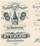 CARCASSONNE LA JACQUELINE VIALADE DISTILLERIE LIQUORISTE 1905  LIQUEUR ALCOOL 11 AUDE MANDAT A ORDRE - Autres Collections