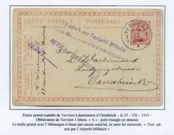 COLLECTION DE VERVIERS -  E.P. Carte 10c. Obl. Sc VERVIERS 1 Vers Osnabruck 25-7-19 + Griffe Violette NON ADMIS PAR L'AU - Postwaardestukken