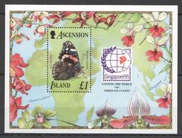 H1143 1995 ASCENSION ISLAND FLORA & FAUNA BUTTERFLIES MICHEL 11 EURO 1BL MNH - Butterflies