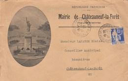 ENVELOPPE ILLUSTREE MAIRIE DE CHTEAUNEUF LA FORET HAUTE VIENNE 1937 - Briefe U. Dokumente