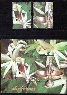 India 2019 Perfumes Jasmine M/S + 2 Stamps MNH - Ongebruikt