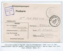 COLLECTION DE VERVIERS -  CP De L'Oflag VIII Camp Civil De Britanniques 13-8-42 Vers Verviers + Gr. Bleue Olag VIII Gepr - Guerre 40-45