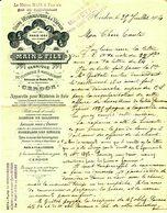 """Facture Decorative 1904 Cerdon ( Ain ) """" Main & Fils - Cuivrerie,Maillechort,Appareils Pour Filatures De Soie,Nickelage"""" - France"""