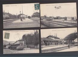 Ain / Amberieu / Lot De 4 CP / Interieur Gare, Dont Celle Du Champ D'aviation, Entree De Vareille, Chateau Echelles - Other Municipalities