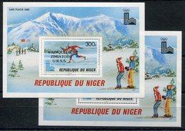 RC 15140 NIGER JEUX OLYMPIQUE LAKE PLACID + SURCHARGÉ BLOC FEUILLET NEUF ** MNH TB - Niger (1960-...)