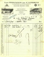 """Facture Decorative 1933 Cambrai & Seboncourt """" L.Levy&Fils - Tissages De Cambrai - Mouchoirs,Batistes,Linons """" - Textile & Vestimentaire"""