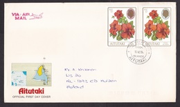 Aitutaki: FDC First Day Cover To Netherlands, 1994, 2 Stamps, Flower, 2 Different High Values (minor Damage) - Aitutaki
