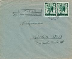 BRÖSUM über Garding (Schlesw)  -  1938 , Brief Nach Berlin - Landpoststempel , Postnebenstempel - Deutschland