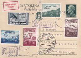 Lettre De 1942 - Entier Postal Italien + Timbre Expres Italie N° 68 - Poste Aérienne + Timbres De Croatie N° 50/3 - 1900-44 Vittorio Emanuele III