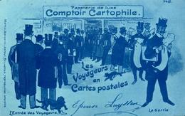 """Bruxelles - """" Papeterie De Luxe - Comptoir Cartophile - Les Voyageurs En Cartes Postales """" Illustrateur - Belgique - Belgique"""