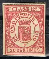 Sello Viñeta Fiscal, Efectos Comercio REPUBLICA , 20 Cts, Clase 12ª * - Fiscales