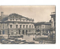 Italie Milano Milan Piazza E Teatro Alla Scala Place Theatre CPSM GF Vieille Voiture Auto Tram Tramway Cachet 1950 - Milano