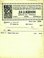 """Facture Decorative 1912 Paris """" J6J KOHN - Meubles En Bois Courbe """" - France"""