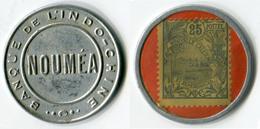 N93-0613 - Timbre-monnaie Banque De L'Indochine - Nouméa - 25 Centimes - Kapselgeld - Encased Postage - Monétaires / De Nécessité
