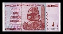 Zimbabwe 5000000000 5 Billion Dollars 2008 Pick 84 SC UNC - Zimbabwe