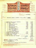 """Facture Decorative 1926 Lyon """" LEUNE - Emaux D'art """" - France"""