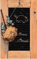BONNE ANNEE ET LE PETIT COCHON SUR L'ARDOISE    REF 62286 - Nouvel An