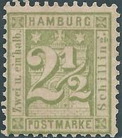 Germania Germany Deutschland,1867 Coat Of Arms,Amburgo-Hamburg,2½Sch Olive Green - Hamburg