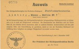 BERLIN - 1943 , Reichspostdirektion , Ausweis Für Postfacharbeiterin -  Verhalten Nach Einem Bombenangriff - Shareholdings
