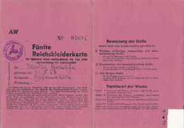 3. Reich  -  1944/45  ,  Fünfte Reichskleiderkarte - Wegen Grösse Nicht Komplett Abgebildet - Shareholdings