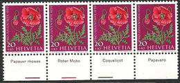 Schweiz Suisse Pro Juventute 1959: Zu 180 Mi 689 Yv 636 En Bande Strip Of 4 ** MNH + TAB En 4 Languages (SBK CHF 20.00) - Piante Velenose