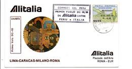 PREMIER VOL ALITALIA LIMA-CARACAS-MILANO-ROMA 1973 - Airplanes