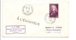 PREMIER VOL ALITALIA PAR CARAVELLE MARSEILLE-ROME 1968 - Vliegtuigen