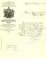 """Facture Decorative 1895 Angers ( Maine-et-Loire ) """" BESSONNEAU - Cables Cordages Ficelles Fil De Peche  """" - France"""