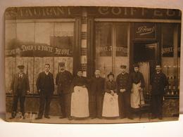 CPA CARTE PHOTO RESTAURANT COIFFEUR DROUET A SITUER 708 - Cafés