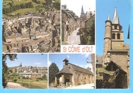 Saint Côme D'Olt-Espalion-Rouergue-Aveyron-Multivues-Vieux Quartier-Eglise-Clocher Flammé-Chapelle Des Pénitents..-rare - Espalion