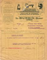 MACHINES OUTILS MODERNES L.BURDIN A LYON    .......... FACTURE DE 1926 - Francia