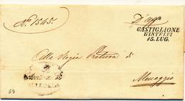 STORIA POSTALE LAGO DI COMO 1859 CASTIGLIONE D'INTELVI  LINEARE CON DATA PER MENAGGIO - 1. ...-1850 Prefilatelia