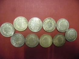 LOT De 10 X 10 FRANCS HERCULE 1972 Argent 90% Pour Compléter Vos Séries Ou Thésauriser - Poids Total 250 Grammes - Frankrijk