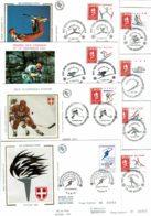 """1991 - 8 Envel FDC - Jeux Olympiques D'Hiver """"Albertville 92"""" - Tp N° 2676/2680 - 2709/2710 - 2732 (sur Soie Sauf 2710) - 1990-1999"""