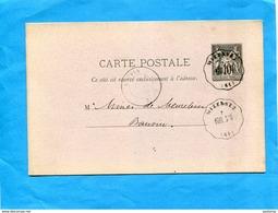 """Carte Entier Postal Sage 10c -cad Wizernes 1876-""""Convoyeur De Station""""BOUL.StO. = Boulogne Sur Mer à St Omer - Marcofilia (sobres)"""