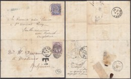 BELGIQUE COB 48 SUR LETTRE DE MALINE 03/05/1887 VERS BARNET ET REEXPEDIE DE BARNET GRANDE BRETAGNE (DD) DC-5493 - 1884-1891 Leopold II