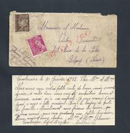 CARTE IMAGE HEUREUSE ANNÉE + ENVELOPPE ECRITE DE CAMBOCAIRE NOYAL MUZILLAC + TIMBRES POUR LEMAITRE VICTOR BOBIGNY : - 1941-42 Pétain