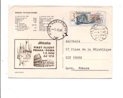 PREMIER VOL PRAGUES-ROME PAR ALITALIA 1990 - Vliegtuigen