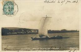Gennes Sur Loire - Carte Photo 1903 - Bateau De Loire Devant Abbaye St Maur - Péniche Voile Barge Chaland Batellerie - Autres Communes