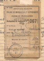 DECLARATION DE VERSEMENT / COLONIE DE MADAGASCAR ET DEPENDANCES BEFOTAKA   B2055 - Madagascar (1889-1960)