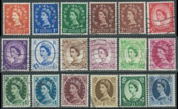 1955-58 GREAT BRITAIN USED QUEEN ELIZABETH II SG 540/56 SET OF 18 - RC2-7 - 1952-.... (Elizabeth II)