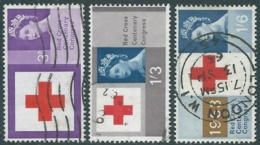 1963 GREAT BRITAIN USED RED CROSS CENTENARY CONGRESS SG 642/4 SET OF 3 - RC3-6 - Usati