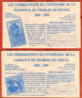 Publicité Verso Enveloppe CCP  Timbres Centenaire Naissance Charles De Gaulle Nelle Calédonie SPM - Documents Of Postal Services