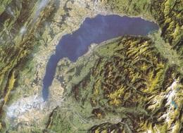 74. LAC LEMAN. VUE AÉRIENNE 705 KM PRISE PAR LE  SATELLITE. AMERICAIN LANDSAT-5 TM  LE 6 SEPEMBRE 1986 - France