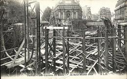 CPA 75 PARIS Travaux Du METRO  Place Saint Michel , 1906 - Metro, Estaciones