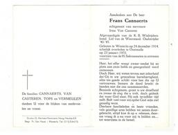 DP Frans Cannaerts Geb. Westerlo 1914  Lid Vd Weerstand.Oud-Strijder 40-45  Overleden Oostmalle 1970 - Religion & Esotericism